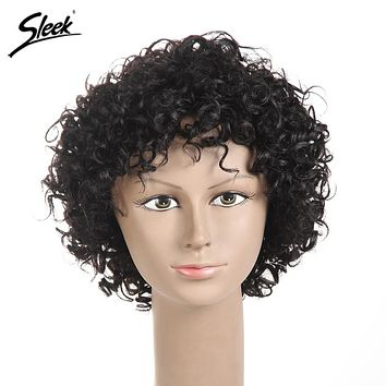 Sleek Short Human Hair Wigs For Black Women Brazilian Bouncy Curly Hair Non Lace Wig 7 Colors Free Shipping 6 Inch ESTEE