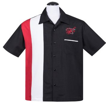 Steady Mens Stay Tuned Guitar Button Up in Black Red White Bowling Lounge Shirt