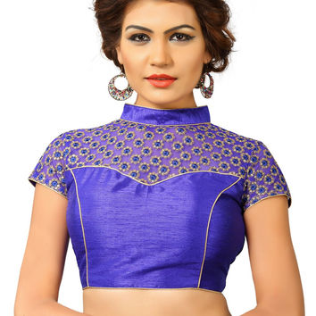 Saris and Things Royal-Blue Net Fancy Back Open Saree Blouse Choli SNT-X-400-ROYAL-BLUE