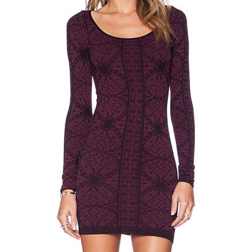 Free People Printed Long Sleeve Bodycon in Wine