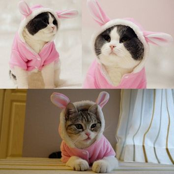 New Cute Pet Cat Clothes Easter Bunny Costume Hooded Coat Fleece Warm Rabbit Outfit Clothing for Cats