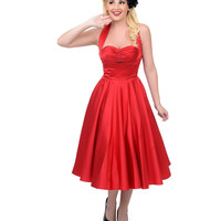 Unique Vintage 1950s Style Cranberry Satin Halter Priscilla Swing Dress