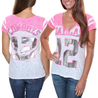 Dallas Cowboys Ladies Kerria Burnout Jersey V-Neck Slim Fit T-Shirt - Pink/White