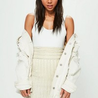 Missguided - Peace + Love Nude Striped Pearl Embellished Midi Skirt