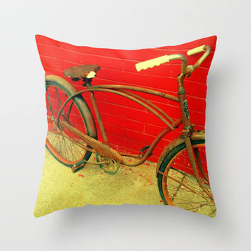 The Old Bike Throw Pillow by Stacy Frett