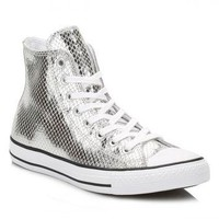 Converse Silver Metallic Leather Trainers
