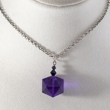 Tanzanite Gamescience D20 Dice Necklace - Polycarbonate Tabletop Gaming Jewelry with Crystal Accents