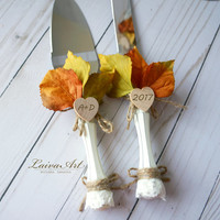 Personalized Rustic Fall Wedding Cake Server Set Knife Rustic Outdoor Holidays Barnyard Fall Wedding