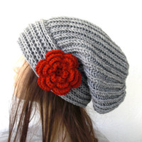Hand Knit Hat- Womens hat - chunky knit Slouchy Beanie  Winter fall Autumn  fashion   Accessories silver gray hat  with  red flower