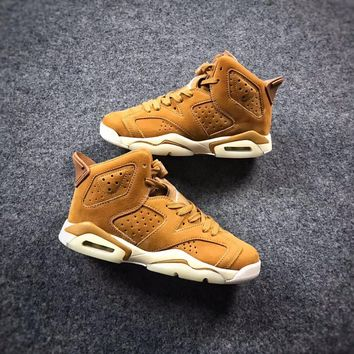 Air jordan retro 6 Wheat Golden Harvest Mens Basketball Shoes Sneaker