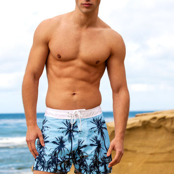 Sauvage Aqua Palms Surf Shorts | Blue Designer Surf Shorts