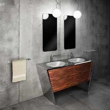 "Quatordici 60-5/8"" Double Sink Master Bathroom Vanity Steel and Solid Wood - PUTI Sink"
