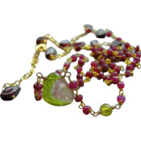 Tourmaline Ruby necklace, Watermelon gem Slice, Ruby links necklace, Gold filled solitaire, Camp Sundance, Gem Bliss