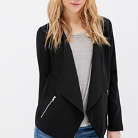 Collarless Draped-Front Blazer