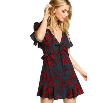 Floral Women Dress Multicolor Short Sleeve Deep V Neck Ruffle Hem A Line Dress  Dress