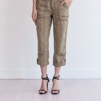 Theodore Roll-Up Linen Pant