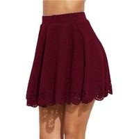 Short Skirt for Women Summer Skirts Womens  Burgundy Laser Cut Out Scallop Hem Textured A Line Skirt