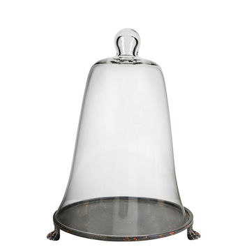 "18"" Footed Glass Cloche, Gray, Cloches & Domes"