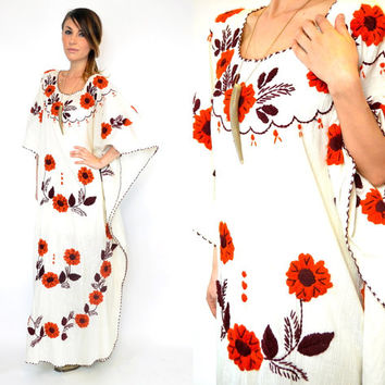 vintage 1970s bohemian EMBROIDERED FLORAL cotton gauze hippy gypsy mexican MAXI dress, one size fits all