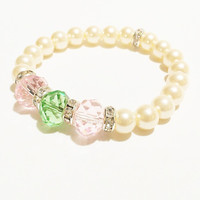 Pink and Green Jewelry / Pink and Green Pearl Bracelet / Green and Pink Jewelry / Pearl Bracelet / Crystal Bracelet / Ivory Pearl Bracelet