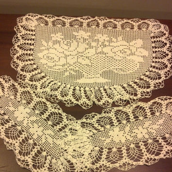 Vintage Doily Set Old Hand Crocheted Chair or Sofa Doilies Antique European Style Doily White Doily