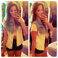 Studded Dip Dyed Light Wash Denim Vest Sz. Medium