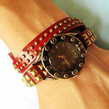 Vintage Style Wine Leather Bangle with Bronze Rivet Women Leather Cuff Women Watch  1371A