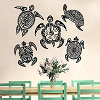 Wall Decal Turtle Sea Turtle Ocean Nautical Decor Vinyl Sticker Decals Bathroom Home Decor Design Interior C554
