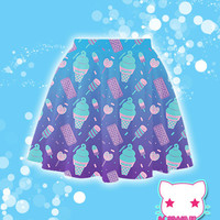 Sugar Pop Novelty Ice Cream Printed Skater Skirt Fairy Kei Pastel Goth Kawaii