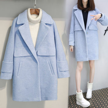 2017 New Spring Coat Autumn Fashion Wool Coats Thick Tweed Long Cocoon Wide-waisted Solid Loose Plus Size Trench Coat For Women