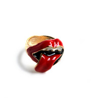"""Tongues Waging"" Gold Midi Ring"