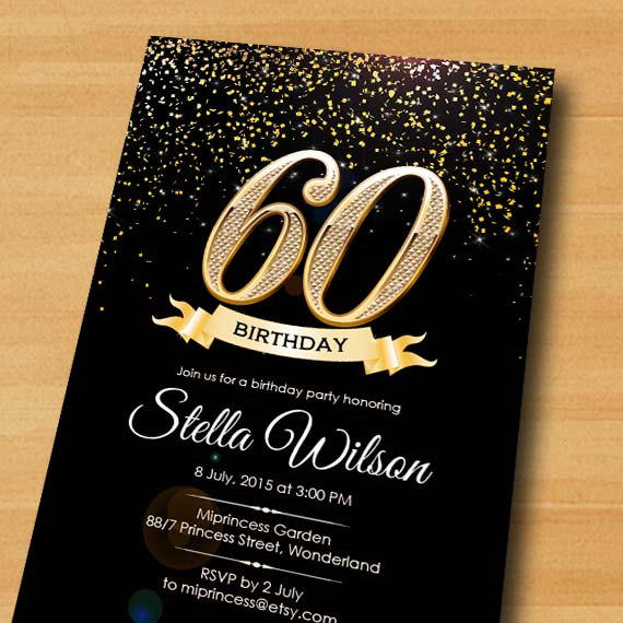 Glitter Birthday Invitation Card Design From Miprincess On