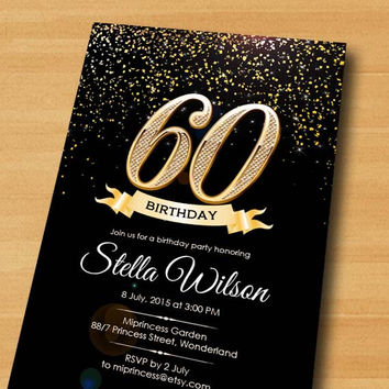 Glitter Birthday Invitation Card Design Any Age30th 40th 50th 60th 70th 80th Gold Gli