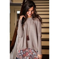 Falling Into Place Sweater-Mocha