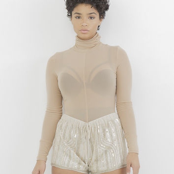 BODY PARTY BEADED SHORTS - TAUPE
