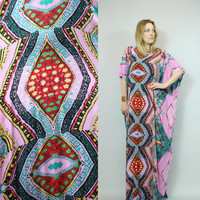 SALE - Vintage - Pink & Turquoise - Ornate Ethnic Print - Long Caftan - Maxi Dress