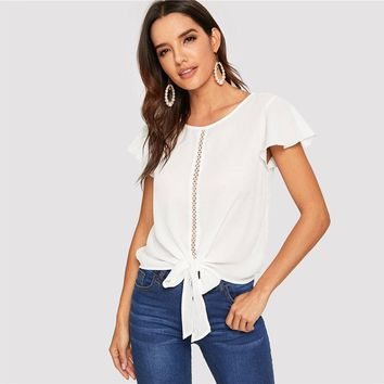 Flutter Sleeve Lace Insert Knot Front Women Tops And Blouses Casual Solid Hollow Out Tops White Blous