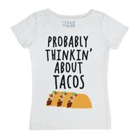 Probably Thinking about Tacos-Unisex White T-Shirt