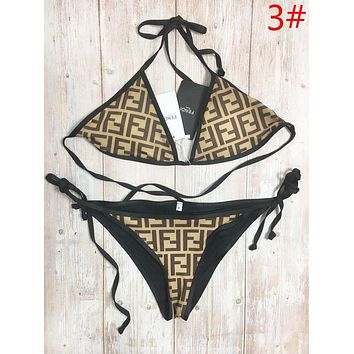 Fendi Fashion New Summer More Letter Print Wading Sports Swimsuit Straps Two Piece Bikini