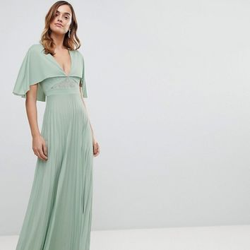ASOS Cape Pleated Lace Insert Maxi Dress at asos.com