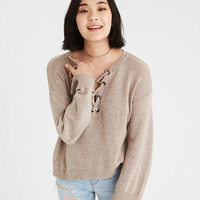 AE LACE-UP OVERSIZED PULLOVER SWEATER, Oatmeal