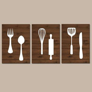 KITCHEN Wall Art, Canvas or Print, Kitchen Utensils Decor, Fork Spoon Knife Tools Pictures, Rustic Decor, Country Dining Room, Set of 3