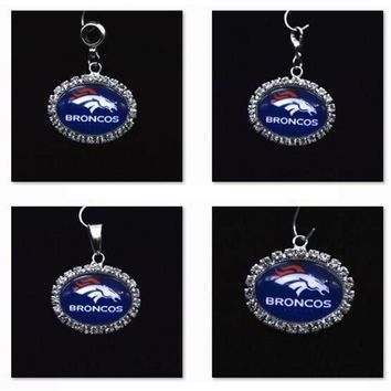 Silver Pendant Charms Rhinestone Denver Broncos Charms for Bracelet Necklace for Women Men Football Fans Paty Fashion 2017