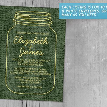 Yellow & Green Rustic Burlap Mason Jar Wedding Invitations | Invites | Invitation Cards