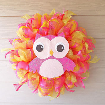 Yellow and Pink Deco Mesh Owl Wreath