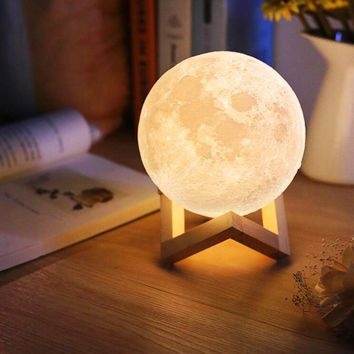 Moon Night Light Table Lamp USB Charging Touch Control Home Decor Gift