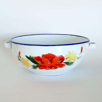 Vintage Enamelware Bowl, Floral Design with Handles, Mint Condition