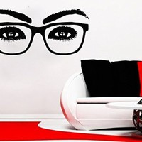 Wall Decals Eyes Glasses Decal Vinyl Sticker Beauty Salon Bathroom Home Decor Art Mural Ms306