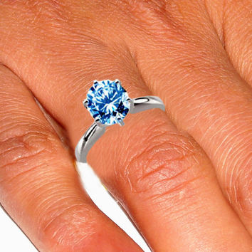 Gorgeous round blue diamond solitaire ring 1.25 carats