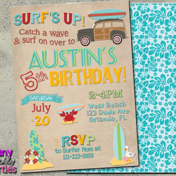 "Surf Invitation - Vintage DIY Printable Invitation - ""SURF INVITATION"" - Vintage Beach - Summer Party Invite - Beach Party - Luau Invite"